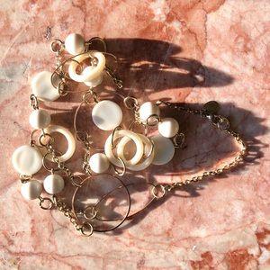 Claires - Vintage Gold White Plastic Long Necklace